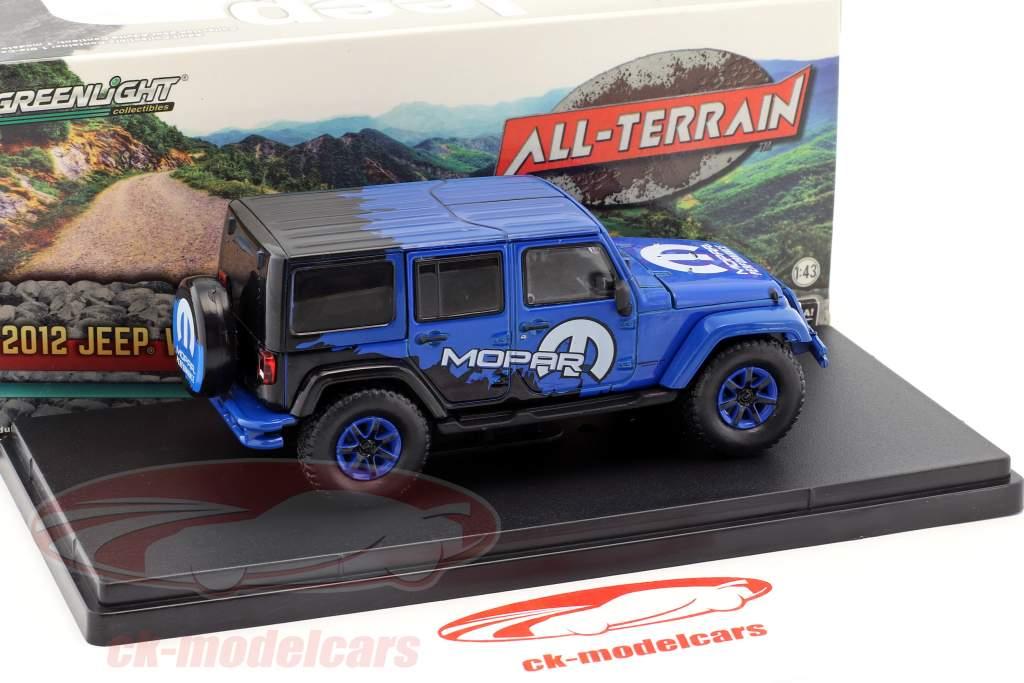 Jeep Wrangler Unlimited All Terrain Mopar année de construction 2012 bleu / noir 1:43 Greenlight