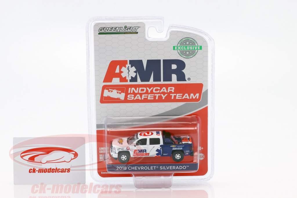 Chevrolet Silverado Pick-Up ano de construção 2018 AMR Indycar Safety Team com equipamento 1:64 Greenlight