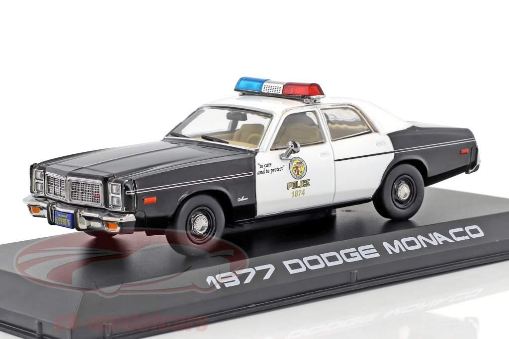 Dodge Monaco Metropolitan Police año de construcción 1977 película Terminator (1984) negro / blanco 1:43 Greenlight