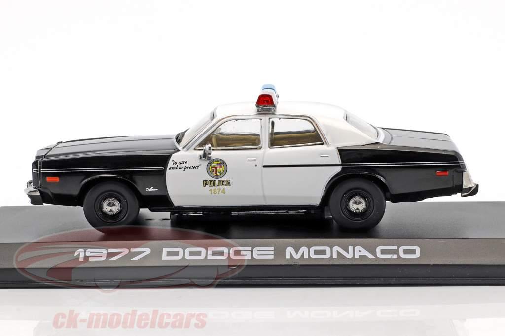 Dodge Monaco Metropolitan Police Baujahr 1977 Film Terminator (1984) schwarz / weiß 1:43 Greenlight