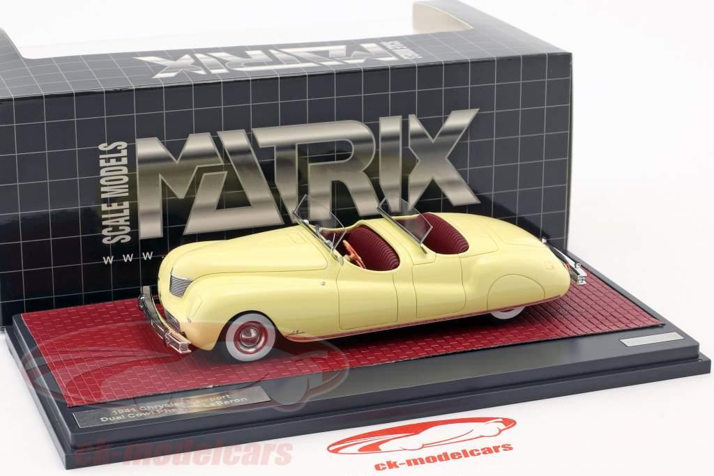 Chrysler Newport Dual Cowl Phaeton LeBaron année de construction 1941 crème jaune 1:43 Matrix