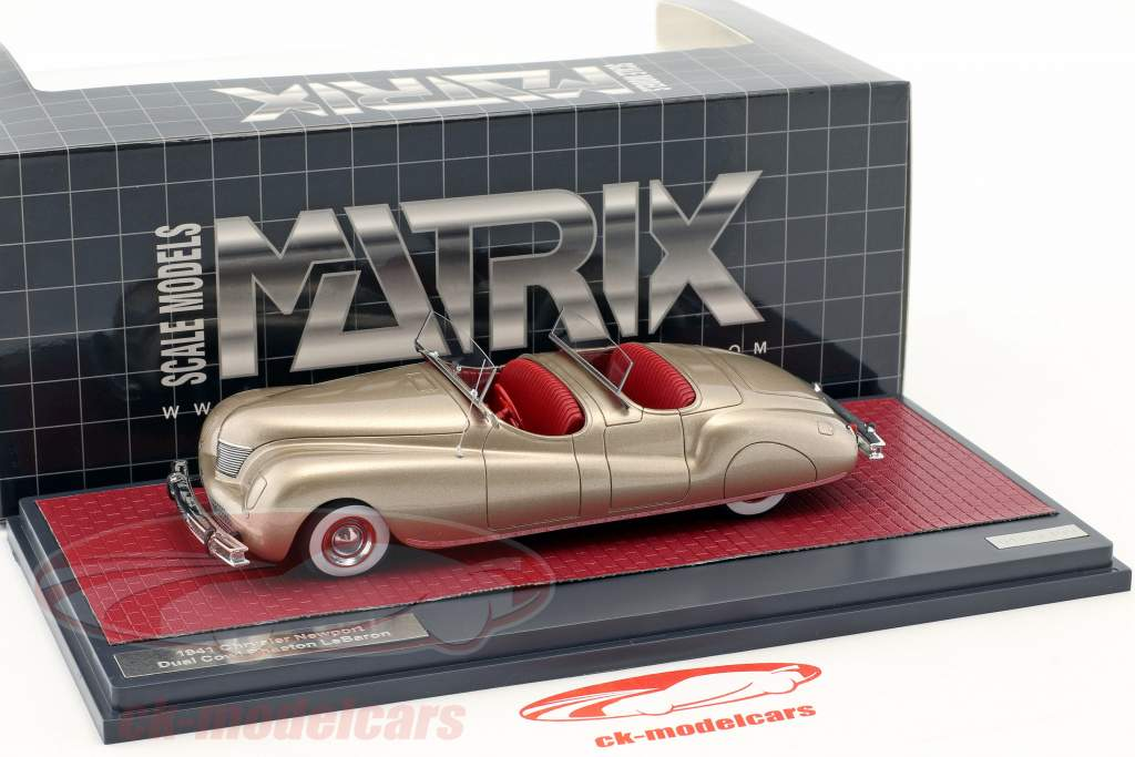 Chrysler Newport Dual Cowl Phaeton LeBaron année de construction 1941 or métallique 1:43 Matrix