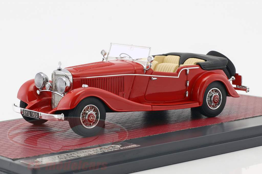 Mercedes-Benz 500K Tourer Mayfair Open Top Bouwjaar 1934 rood 1:43 Matrix