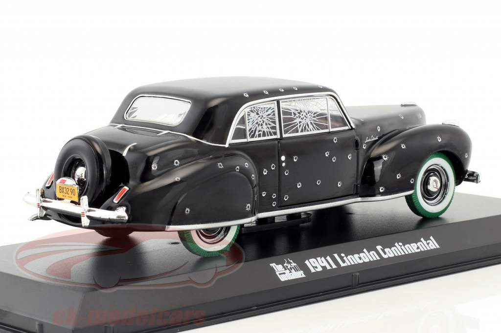 Lincoln Continental with Bullet Hole Damage Movie The Godfather 1972 black / green 1:43 Greenlight