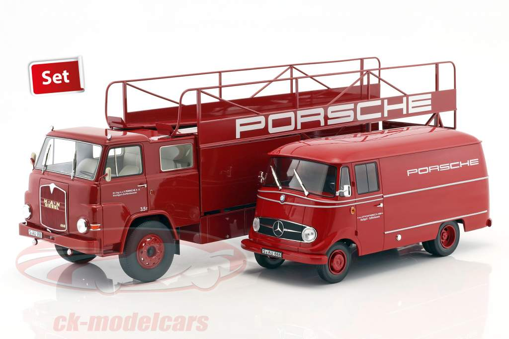 2-Car Set MAN 635 Race Truck og Mercedes-Benz L319 Porsche Renndienst 1:18 Schuco / Norev
