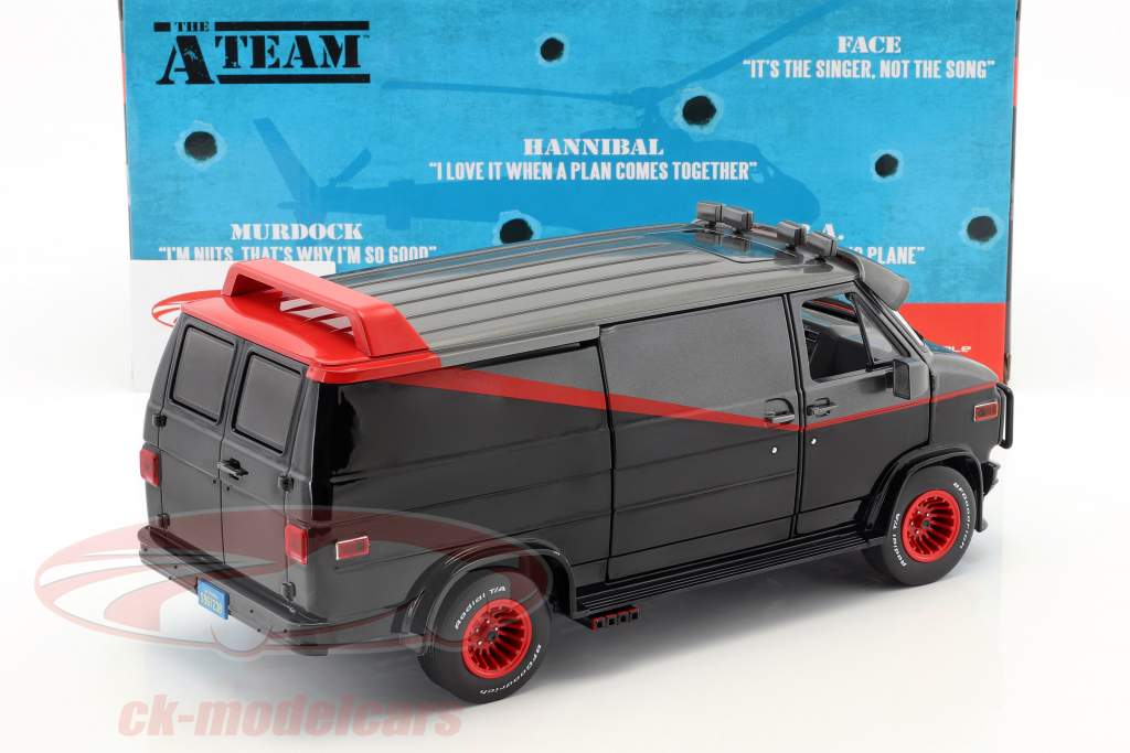 B.A.'s GMC Vandura Opførselsår 1983 TV-serie den A-Team (1983-87) sort / rød / grå 1:18 Greenlight