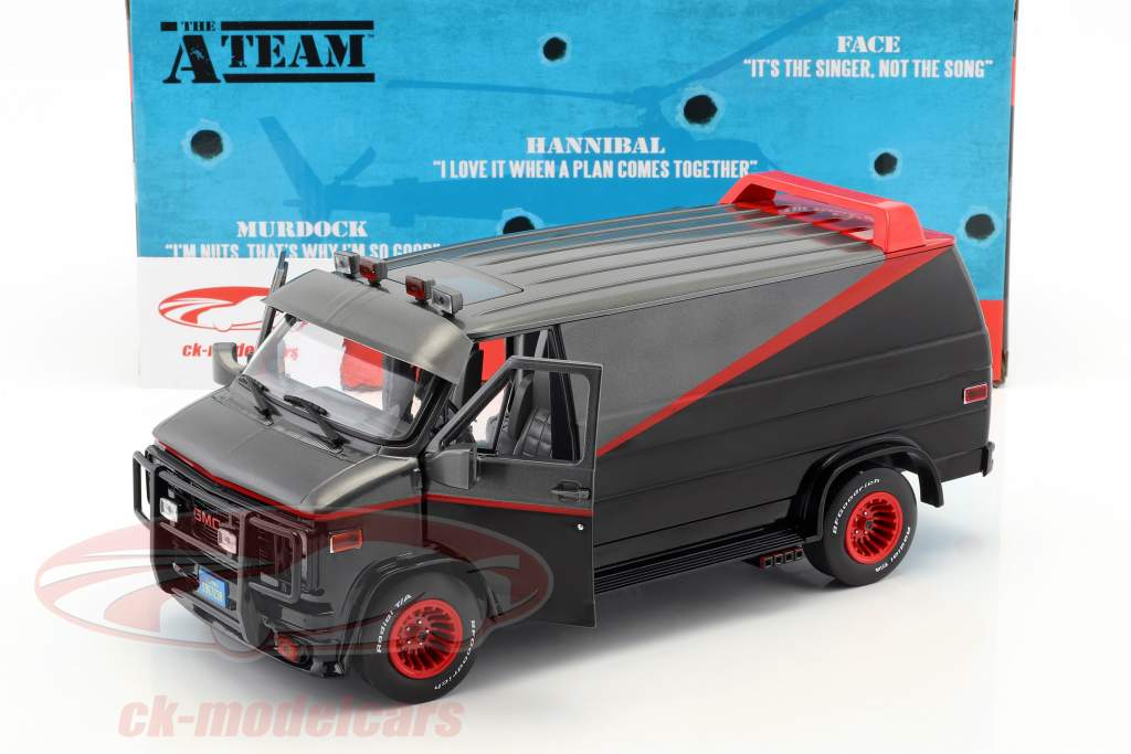 B.A.'s GMC Vandura Baujahr 1983 TV-Serie Das A-Team (1983-87) schwarz / rot / grau 1:18 Greenlight