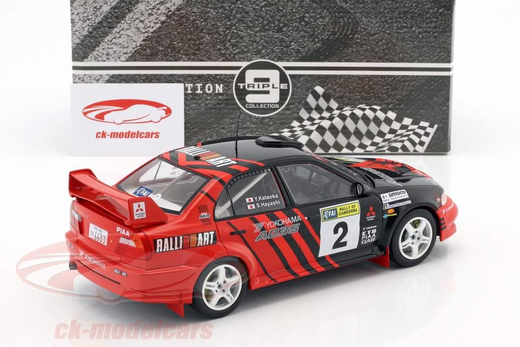 Mitsubishi Lancer Evo VI #2 ganador Rallye of Canberra 1999 Kataoka, Hayashi 1:18 Triple9