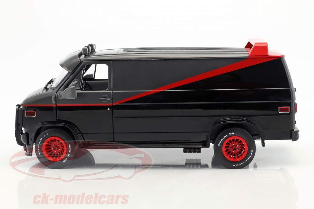 B.A.'s GMC Vandura ano de construção 1983 série de TV o A-Team (1983-87) preto / vermelho / cinza 1:18 Greenlight