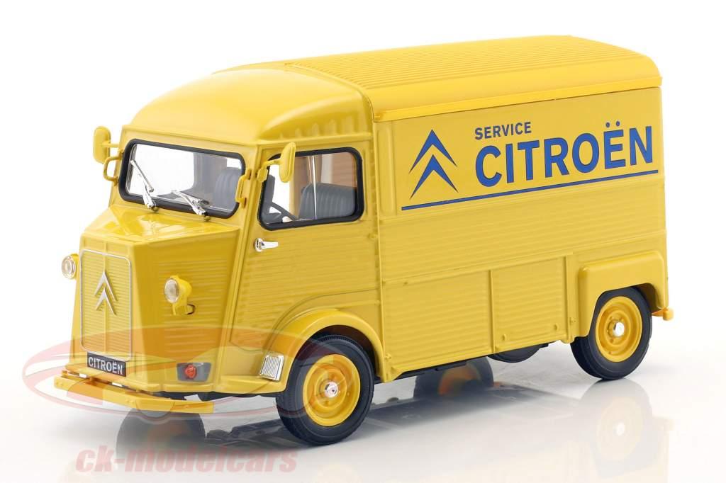 Citroen HY Citroen Service Bouwjaar 1962 geel / blauw 1:24 Welly