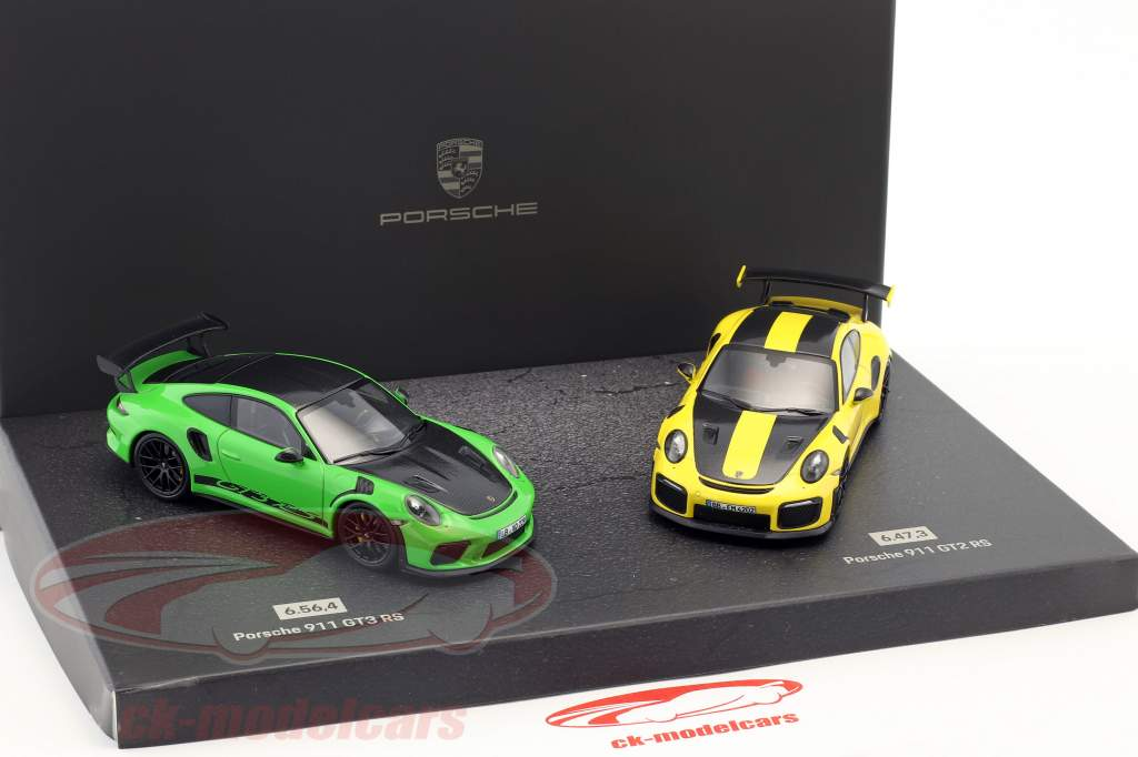 Porsche 2-Car Set 911 GT3 RS & 911 GT2 RS record du tour Nürburgring Nordschleife 1:43 Minichamps