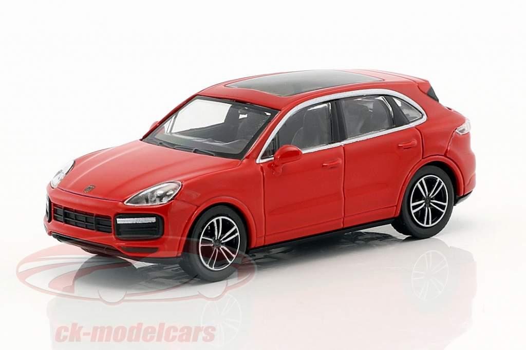 Porsche Cayenne Turbo Opførselsår 2017 rød 1:87 Minichamps