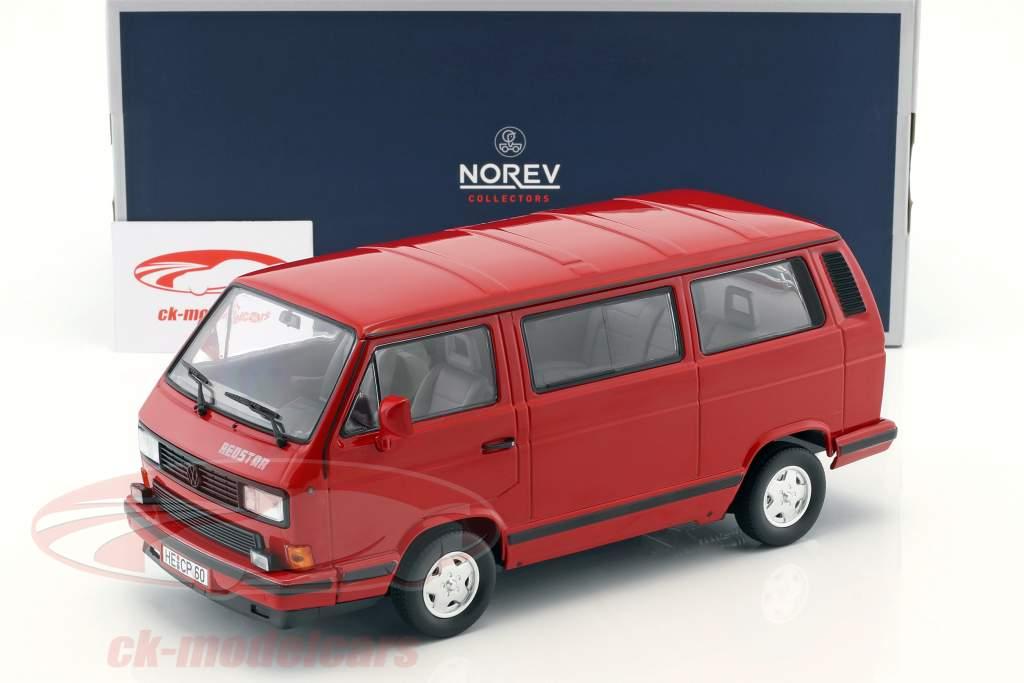Volkswagen VW T3 Bus Red Star Opførselsår 1992 rød 1:18 Norev