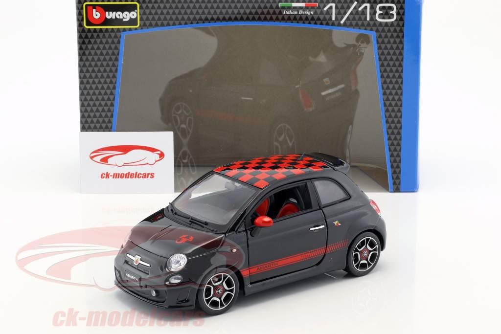 Fiat Abarth 500 sort / rød 1:18 Bburago