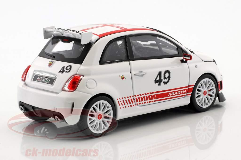Fiat Abarth 500 Assetto Corse #49 branco / vermelho 1:24 Bburago