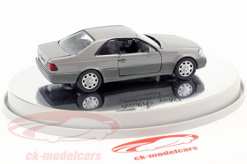 Mercedes-Benz 600 SEC Coupe (C 140) year 1992 – 1993 silver metallic 1:43 Schabak