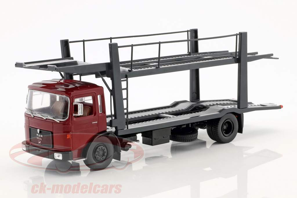 MAN Car transporter with Trailer year 1970 red / grey 1:43 Ixo