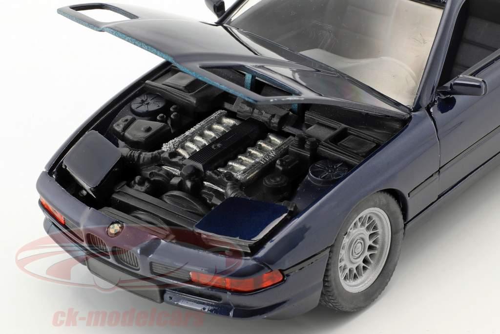BMW 850i E31 year 1989 - 1992 dark blue metallic 1:24 Schabak