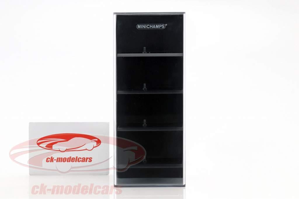 acryl vitrine für 4 modelauto's in schaal 1:87 zwart Minichamps
