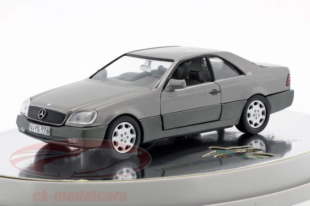Mercedes-Benz 600 SEC Coupe (C 140) ano de construção 1992 – 1993 prata metálico 1:43 Schabak