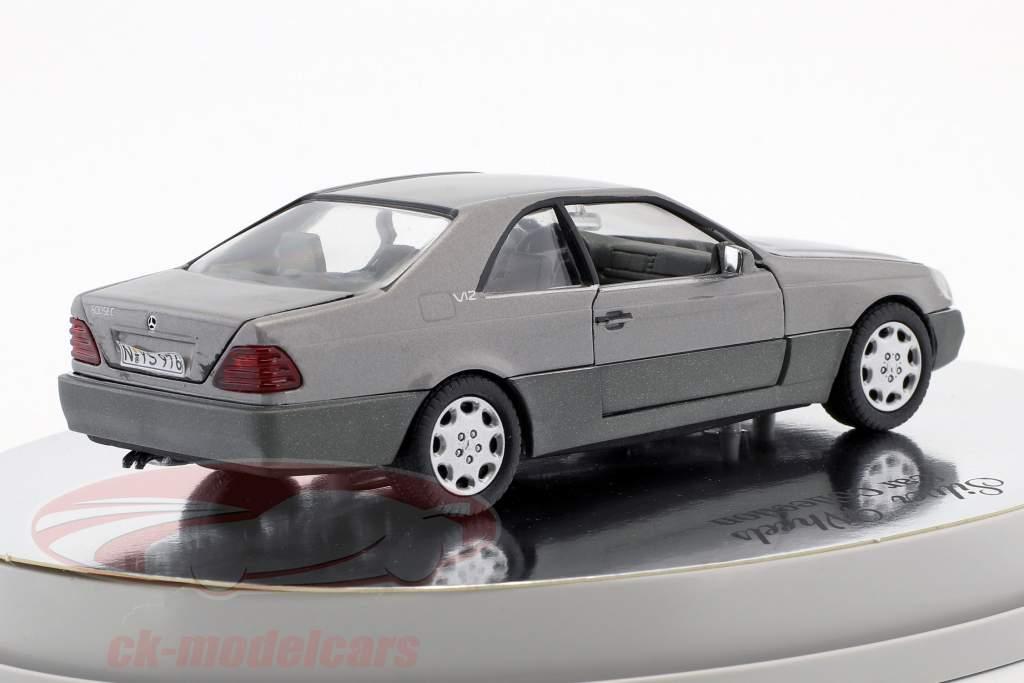 Mercedes-Benz 600 SEC Coupe (C 140) year 1992 – 1993 silver metallic 1:43 Schabak