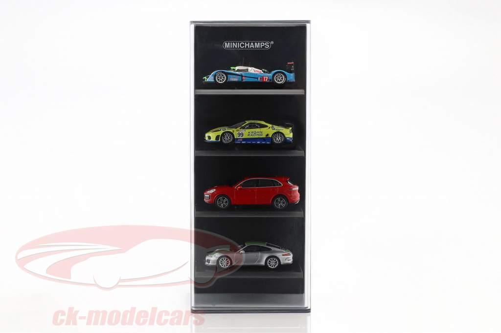 akryl udstillingsvindue für 4 modelbiler i skala 1:87 sort Minichamps