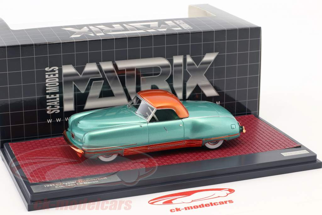 Chrysler Thunderbolt Concept Le Baron Closed Top Opførselsår 1941 grøn metallisk 1:43 Matrix