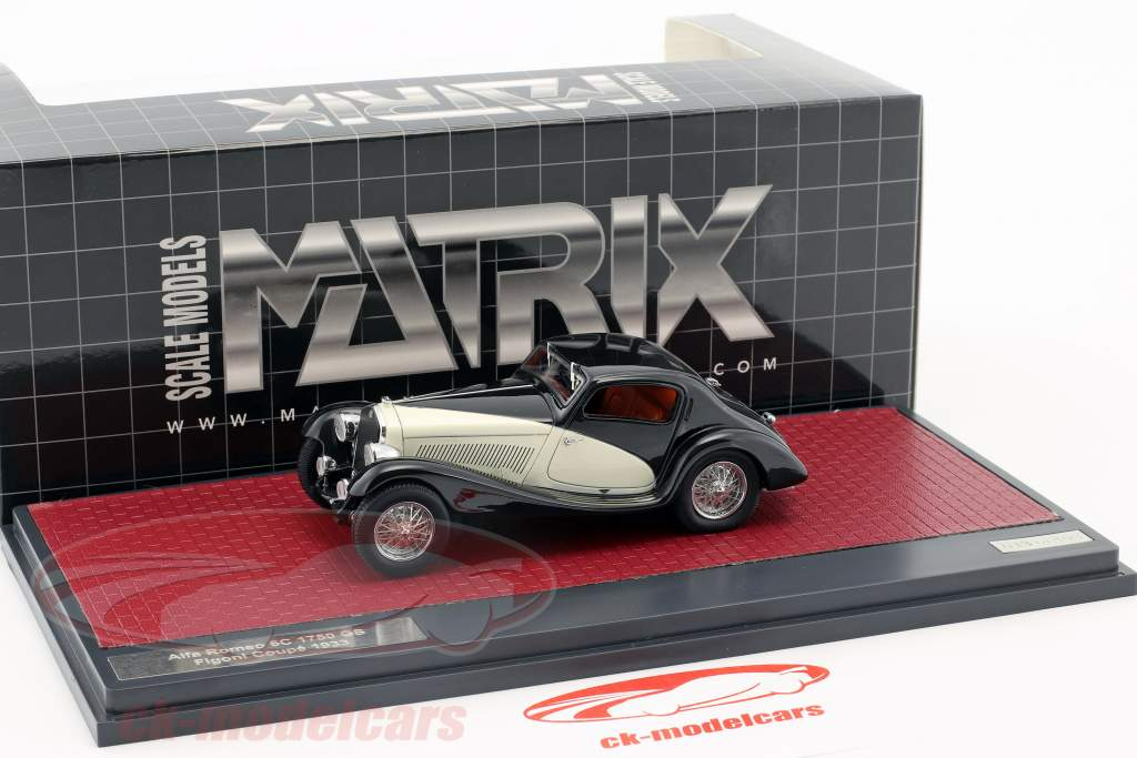Alfa Romeo 6C 1750 GS Figano Coupe year 1933 black / cream 1:43 Matrix