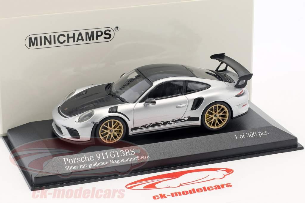 Porsche 911 (991 II) GT3 RS pacote de Weissach 2018 prata com dourado jantes 1:43 Minichamps