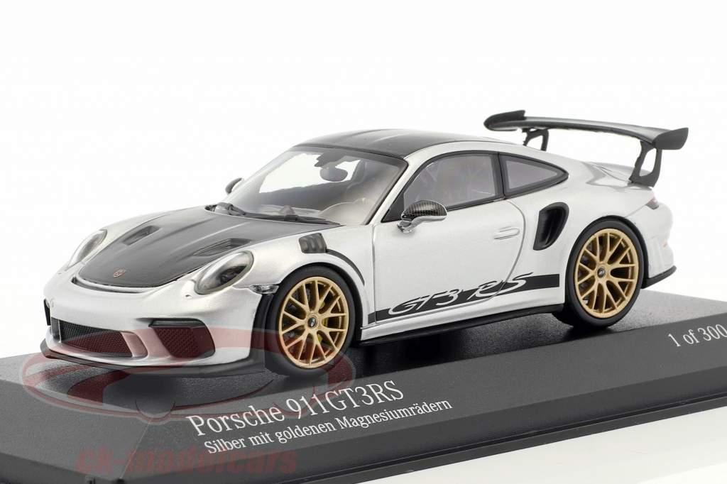 Porsche 911 (991 II) GT3 RS package Weissach 2018 argent avec d'or jantes 1:43 Minichamps
