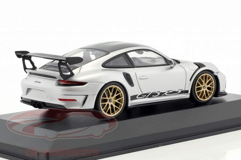 Porsche 911 (991 II) GT3 RS Weissach package 2018 silver with golden rims 1:43 Minichamps