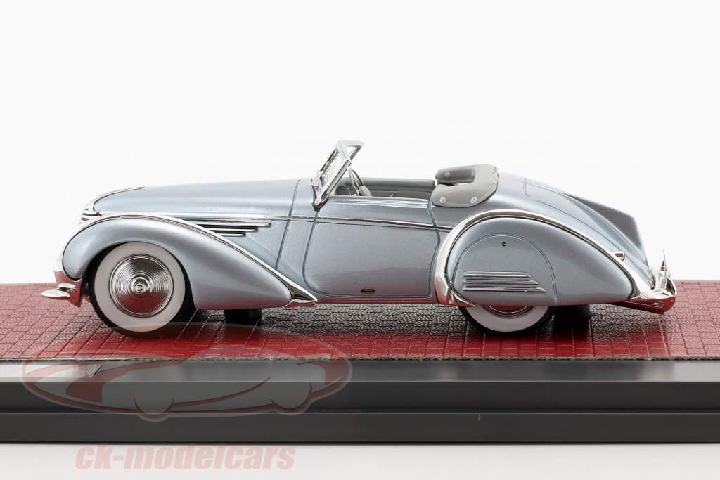 Delahaye 145 V12 Franay Cabriolet Open Top year 1937 blue metallic 1:43 Matrix