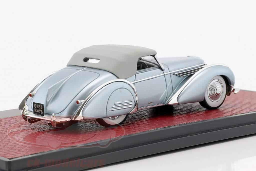 Delahaye 145 V12 Franay Cabriolet Closed Top Opførselsår 1937 blå metallisk 1:43 Matrix