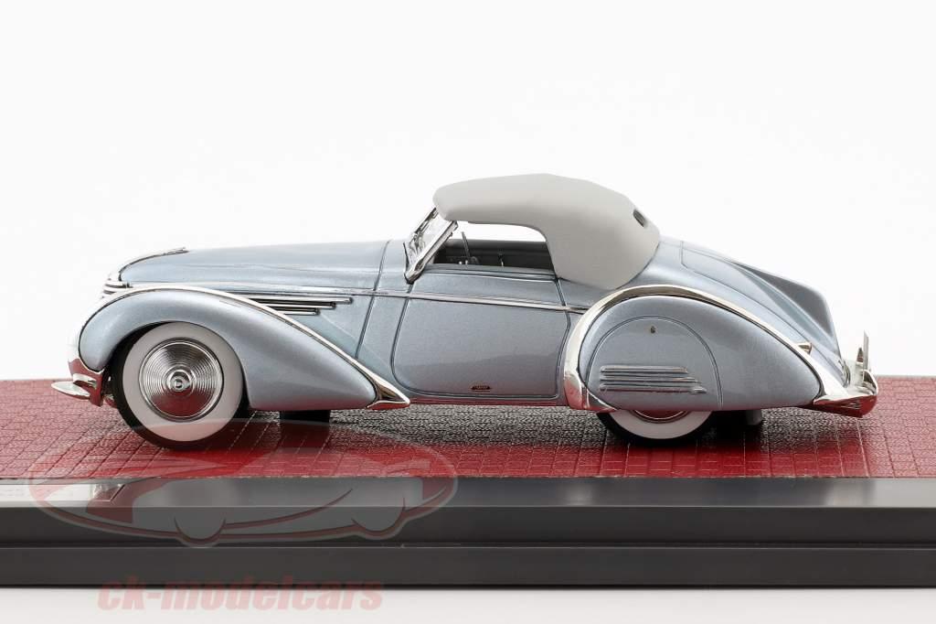 Delahaye 145 V12 Franay cabriolé Closed Top ano de construção 1937 azul metálico 1:43 Matrix