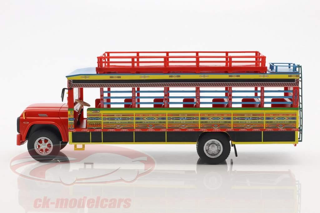 Ford F-100 Chiva bus Colombia Opførselsår 1990 rød / gul / blå 1:43 Altaya