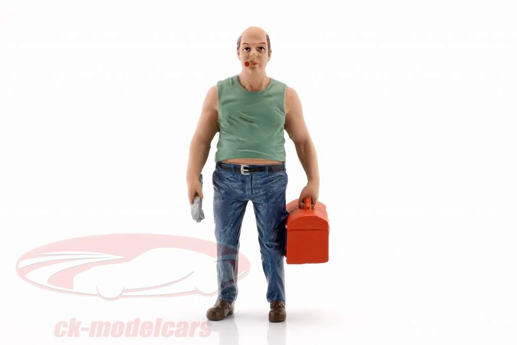 mekaniker Sam med værktøjskasse figur 1:18 American Diorama