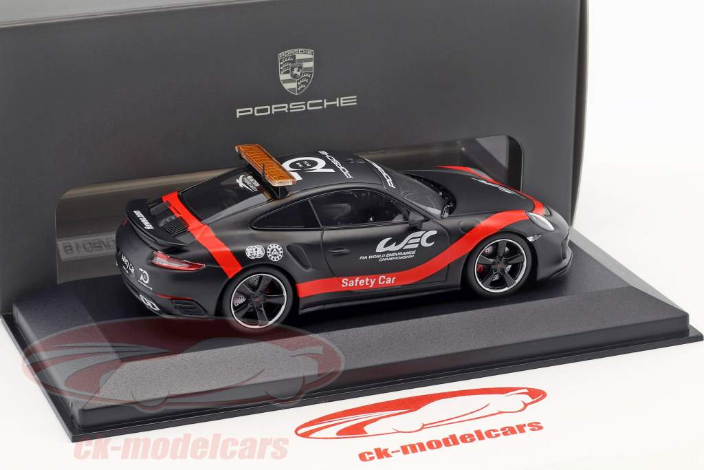 Porsche 911 (991 II) Turbo Safety Car WEC 2018 kedelig sort / rød 1:43 Minichamps