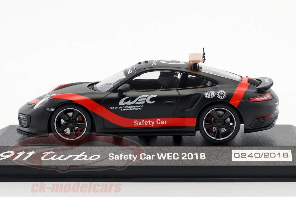 Porsche 911 (991 II) Turbo Safety Car WEC 2018 matt schwarz / rot 1:43 Minichamps