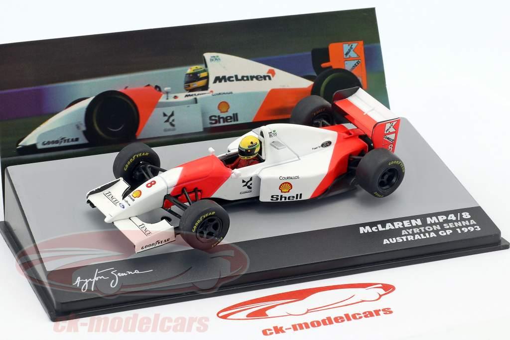 Ayrton Senna McLaren MP4/8 #8 ganador Australia GP fórmula 1 1993 1:43 Altaya