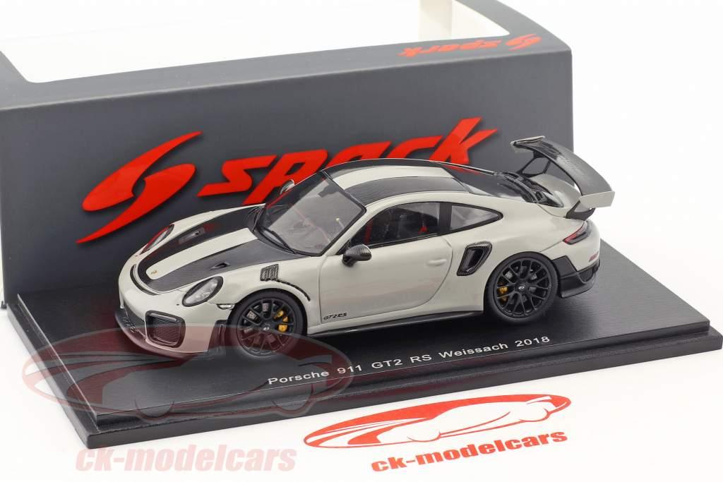 Porsche 911 (991 II) GT2 RS Weissach pacote ano de construção 2018 giz cinza 1:43 Spark