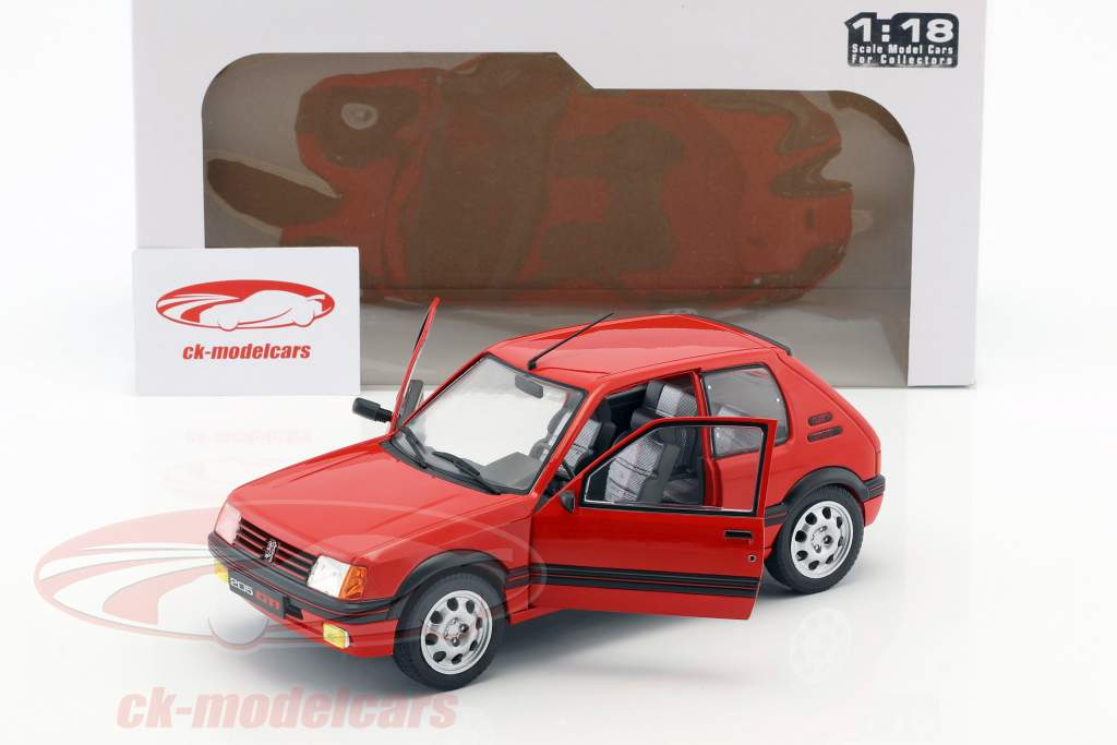 Peugeot 205 GTI MK1 Bouwjaar 1988 rood 1:18 Solido