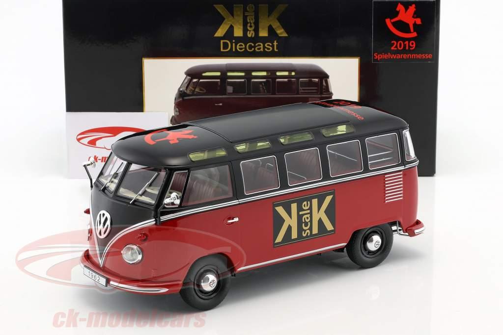 """Volkswagen VW Bulli T1 Samba """"Toy Fair Nürnberg 2019"""" year 1962 red / black 1:18 KK-Scale"""