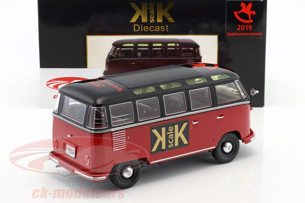 """Volkswagen VW Bulli T1 Samba """"Spielwarenmesse Nürnberg 2019"""" 1962 rot / schwarz 1:18 KK-Scale"""