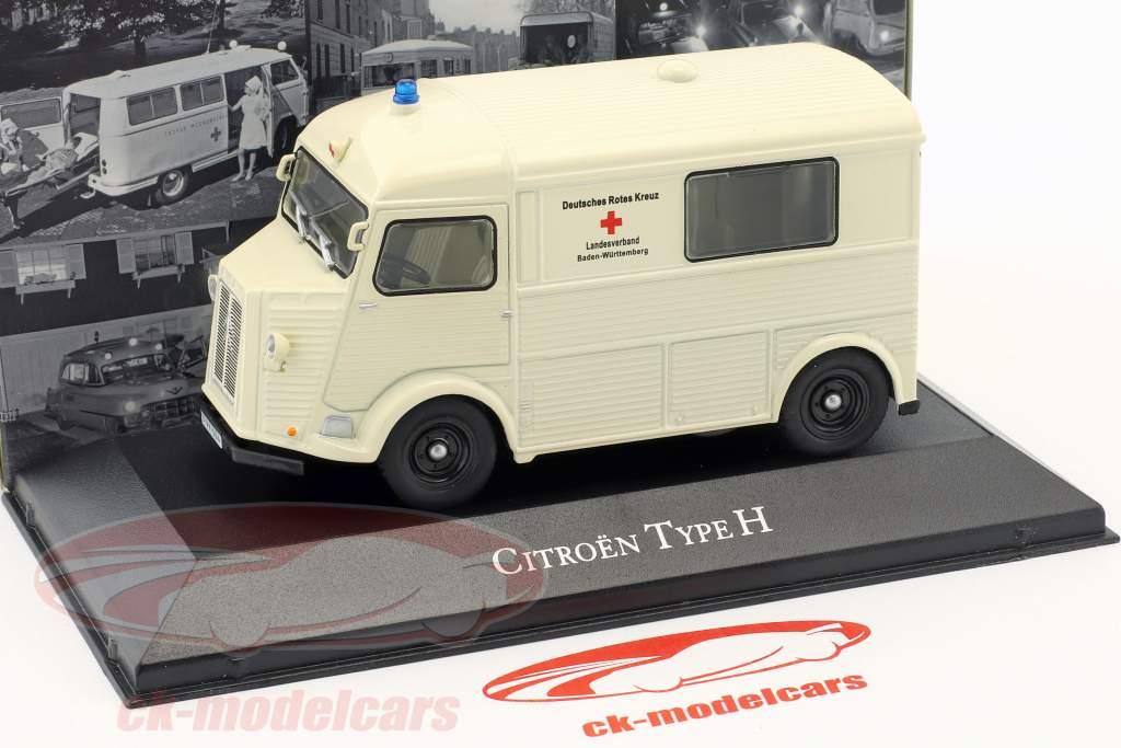 Citroen tipo H ambulância alemão vermelho atravessar ano de construção 1965 branco 1:43 Atlas
