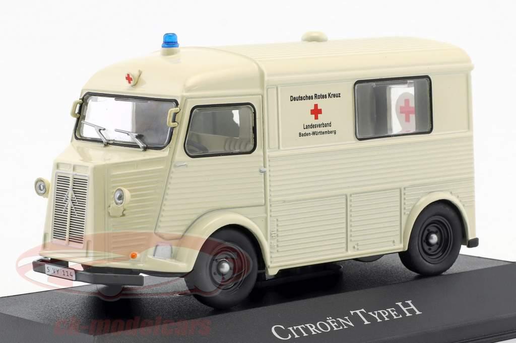 Citroen tipo H ambulancia alemán rojo cruzar año de construcción 1965 blanco 1:43 Atlas