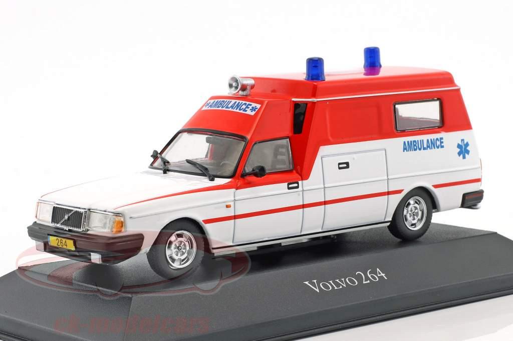 Volvo 264 ambulance Opførselsår 1978 rød / hvid 1:43 Atlas
