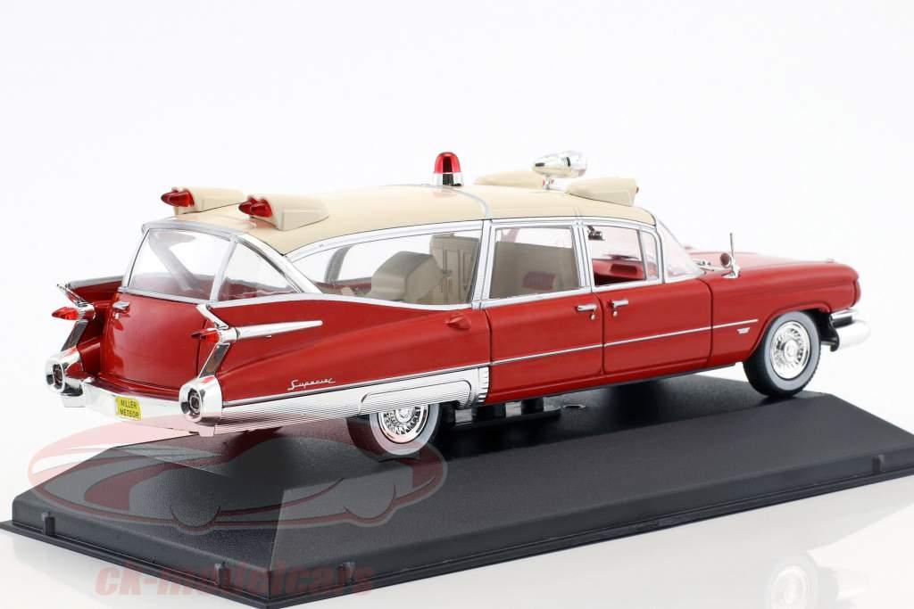 Cadillac Miller Meteor ambulance med båre Opførselsår 1959 rød / hvid 1:43 Atlas