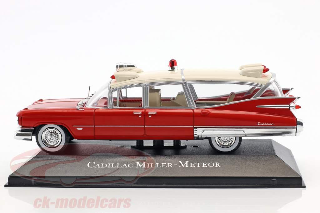Cadillac Miller Meteor ambulance avec civière année de construction 1959 rouge / blanc 1:43 atlas