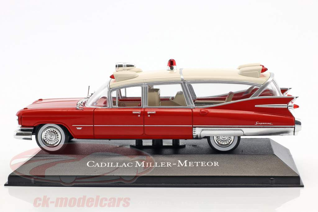 Cadillac Miller Meteor Ambulance with stretcher year 1959 red / White 1:43 Atlas