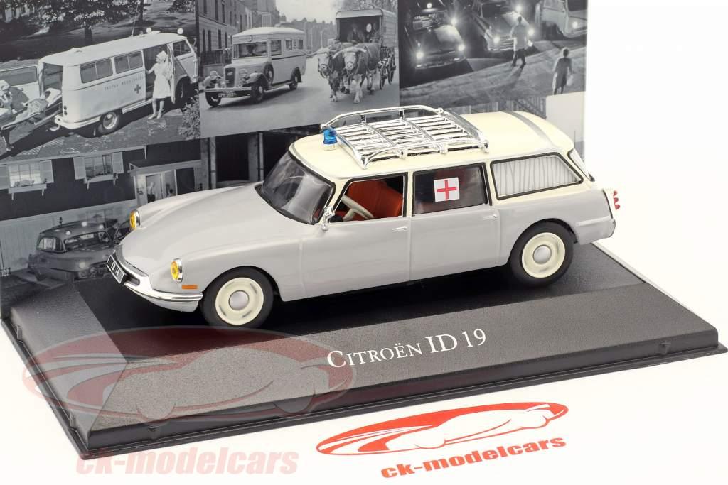 Citroen ID 19 Break ambulance Opførselsår 1962 grå / hvid 1:43 Atlas